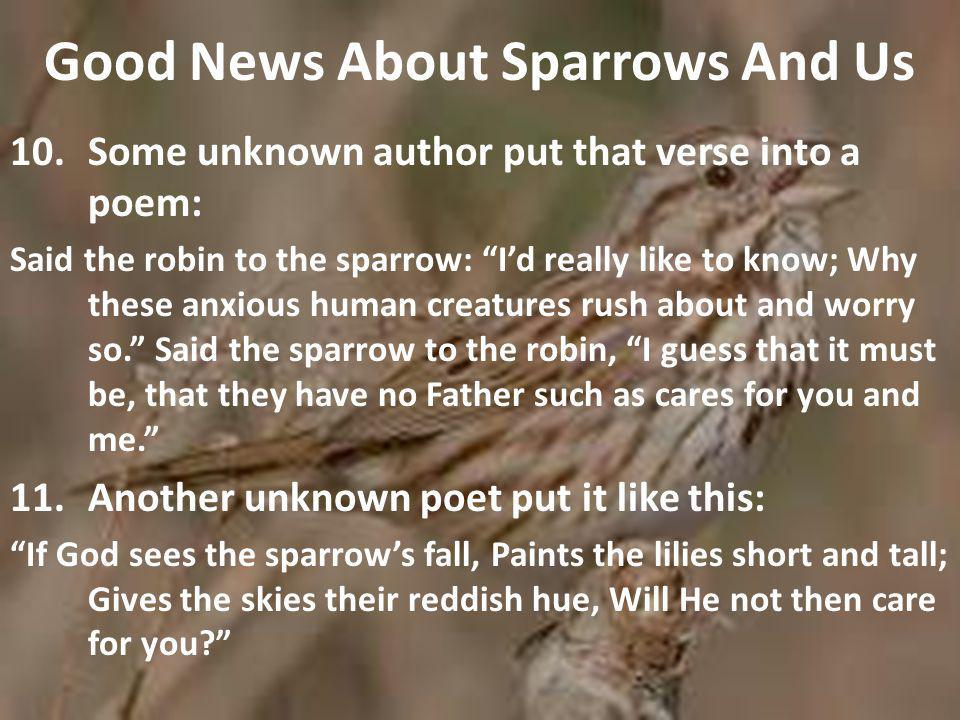 Good News About Sparrows And Us 10.Some unknown author put that verse into a poem: Said the robin to the sparrow: I'd really like to know; Why these anxious human creatures rush about and worry so. Said the sparrow to the robin, I guess that it must be, that they have no Father such as cares for you and me. 11.Another unknown poet put it like this: If God sees the sparrow's fall, Paints the lilies short and tall; Gives the skies their reddish hue, Will He not then care for you