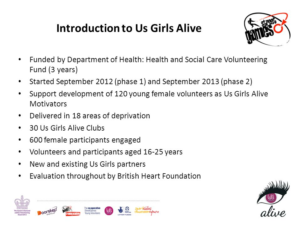 Introduction to Us Girls Alive Funded by Department of Health: Health and Social Care Volunteering Fund (3 years) Started September 2012 (phase 1) and September 2013 (phase 2) Support development of 120 young female volunteers as Us Girls Alive Motivators Delivered in 18 areas of deprivation 30 Us Girls Alive Clubs 600 female participants engaged Volunteers and participants aged 16-25 years New and existing Us Girls partners Evaluation throughout by British Heart Foundation