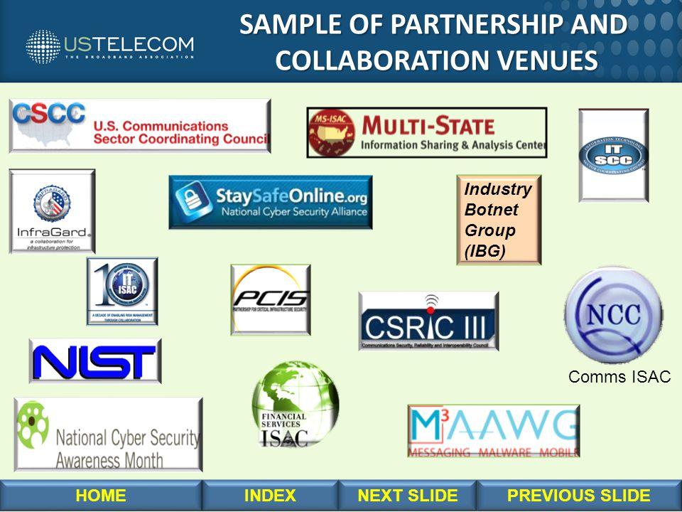 SAMPLE OF PARTNERSHIP AND SAMPLE OF PARTNERSHIP AND COLLABORATION VENUES COLLABORATION VENUES Industry Botnet Group (IBG) Comms ISAC
