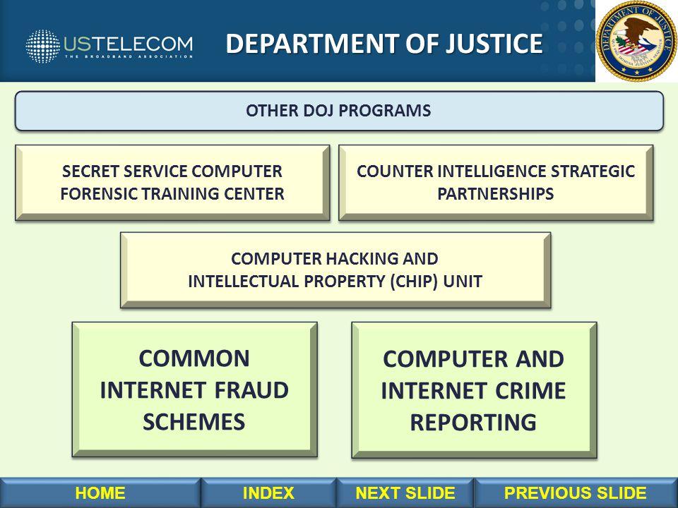 DEPARTMENT OF JUSTICE DEPARTMENT OF JUSTICE OTHER DOJ PROGRAMS COMPUTER HACKING AND INTELLECTUAL PROPERTY (CHIP) UNIT COMPUTER HACKING AND INTELLECTUAL PROPERTY (CHIP) UNIT SECRET SERVICE COMPUTER FORENSIC TRAINING CENTER SECRET SERVICE COMPUTER FORENSIC TRAINING CENTER COUNTER INTELLIGENCE STRATEGIC PARTNERSHIPS COUNTER INTELLIGENCE STRATEGIC PARTNERSHIPS COMMON INTERNET FRAUD SCHEMES COMMON INTERNET FRAUD SCHEMES COMPUTER AND INTERNET CRIME REPORTING COMPUTER AND INTERNET CRIME REPORTING