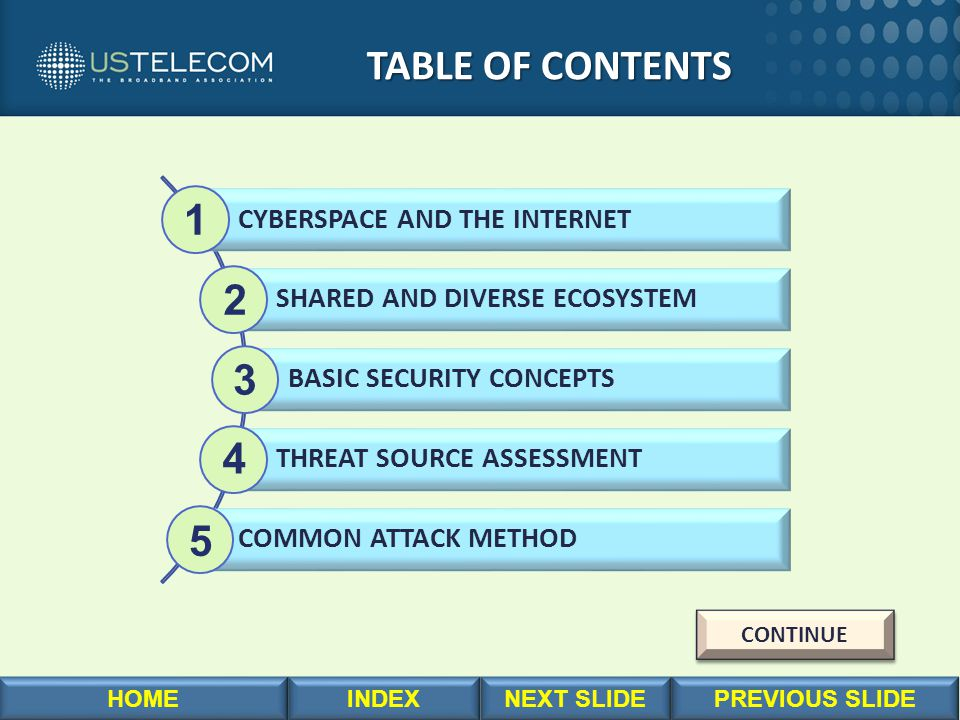 TABLE OF CONTENTS TABLE OF CONTENTS CYBERSPACE AND THE INTERNET SHARED AND DIVERSE ECOSYSTEM BASIC SECURITY CONCEPTS THREAT SOURCE ASSESSMENT COMMON A