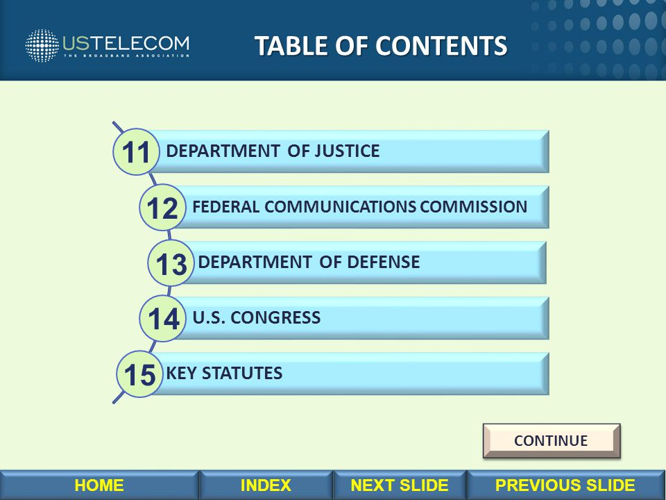 TABLE OF CONTENTS TABLE OF CONTENTS DEPARTMENT OF JUSTICE FEDERAL COMMUNICATIONS COMMISSION DEPARTMENT OF DEFENSE U.S. CONGRESS KEY STATUTES 11 12 13