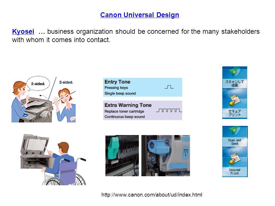 Canon Universal Design KyoseiKyosei … business organization should be concerned for the many stakeholders with whom it comes into contact.