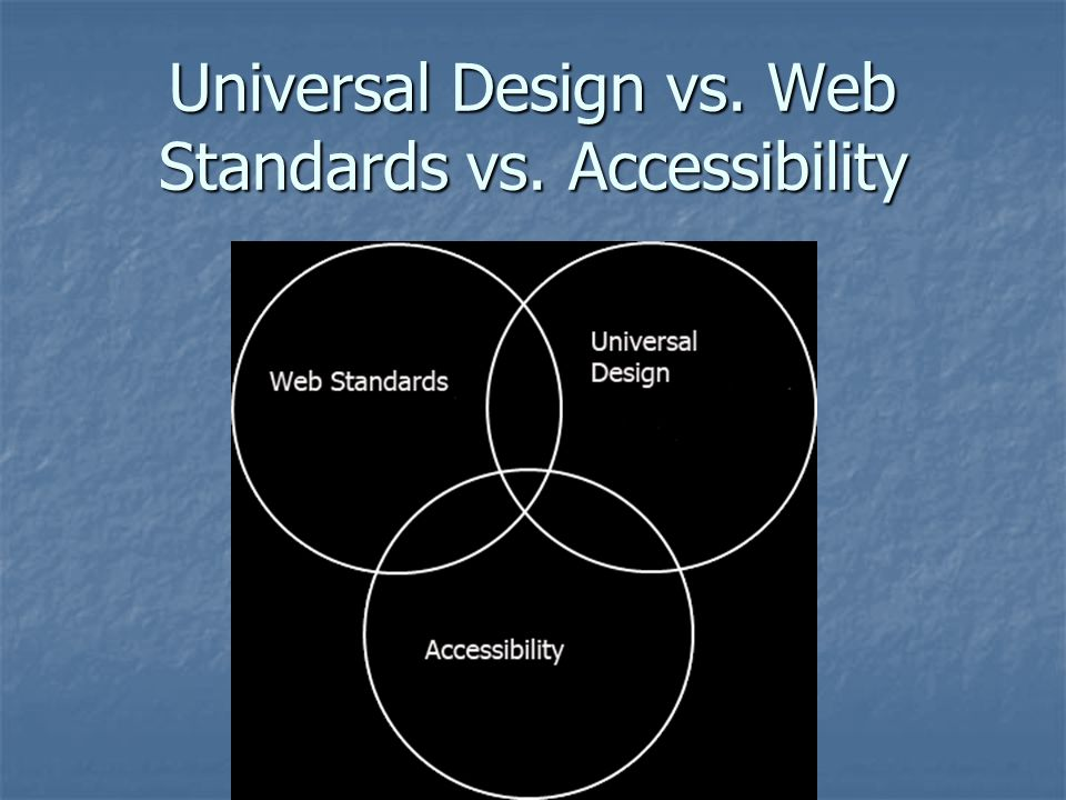 Universal Design vs. Web Standards vs. Accessibility