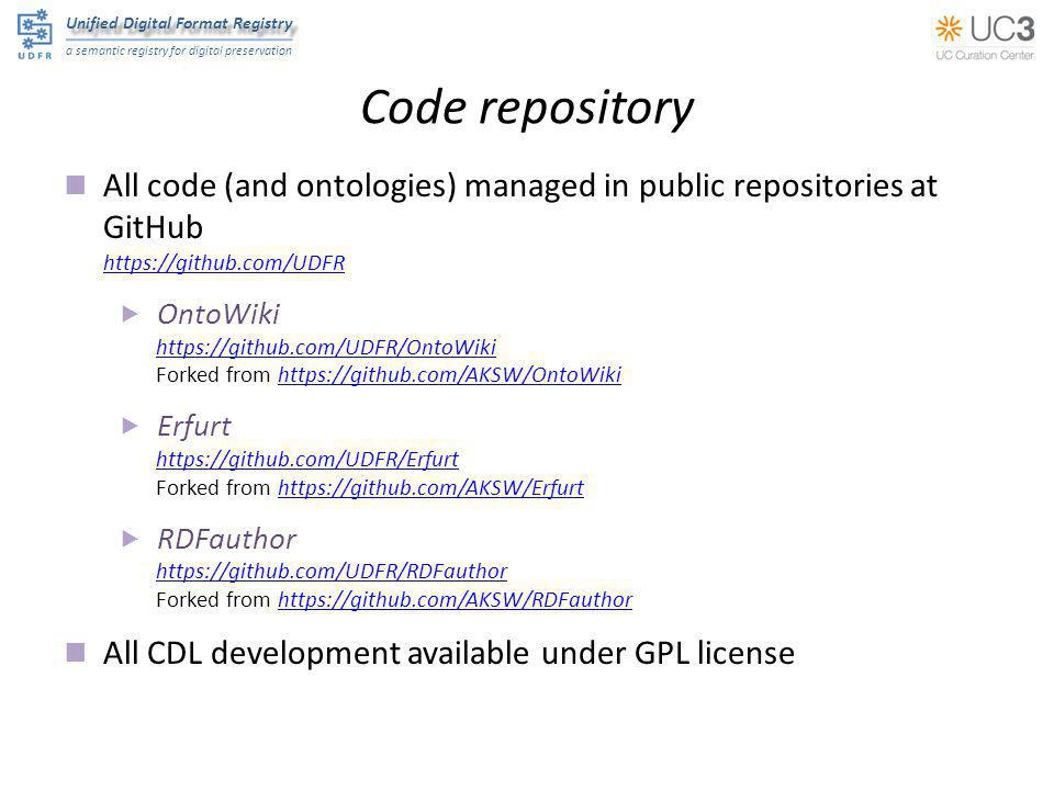 Unified Digital Format Registry a semantic registry for digital preservation Code repository All code (and ontologies) managed in public repositories
