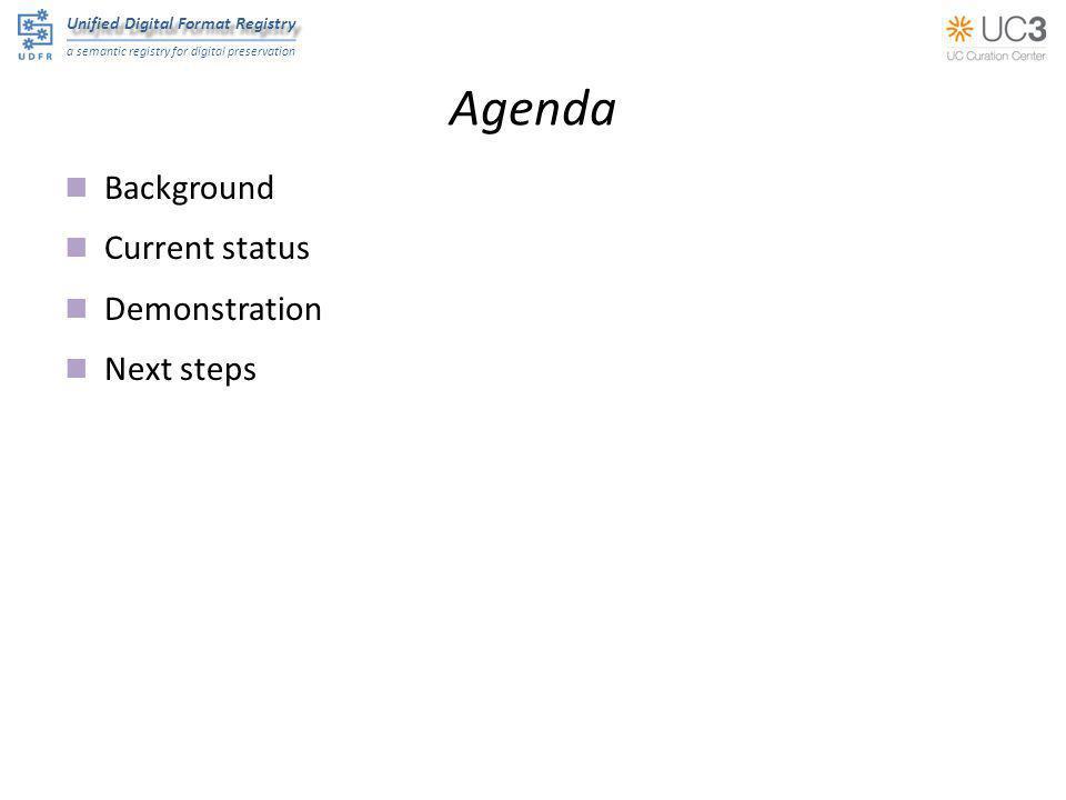 Unified Digital Format Registry a semantic registry for digital preservation Agenda Background Current status Demonstration Next steps