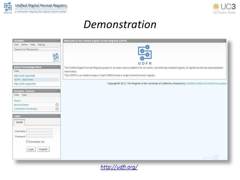 Unified Digital Format Registry a semantic registry for digital preservation Demonstration http://udfr.org/