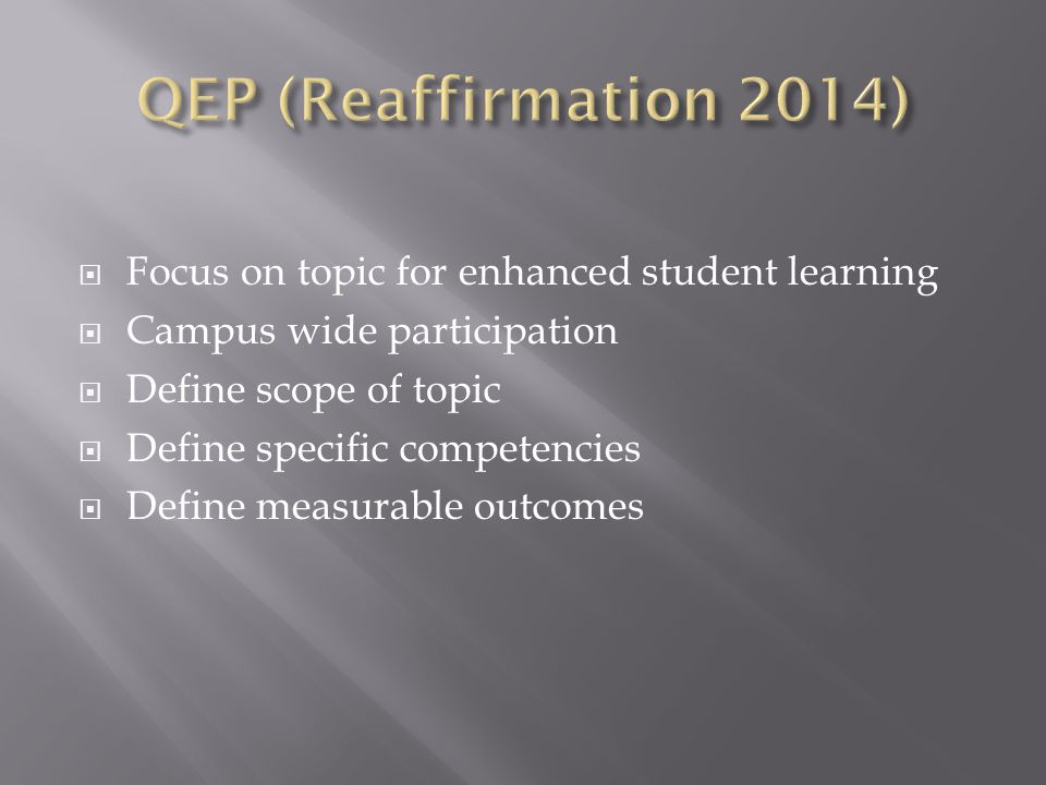  Focus on topic for enhanced student learning  Campus wide participation  Define scope of topic  Define specific competencies  Define measurable outcomes