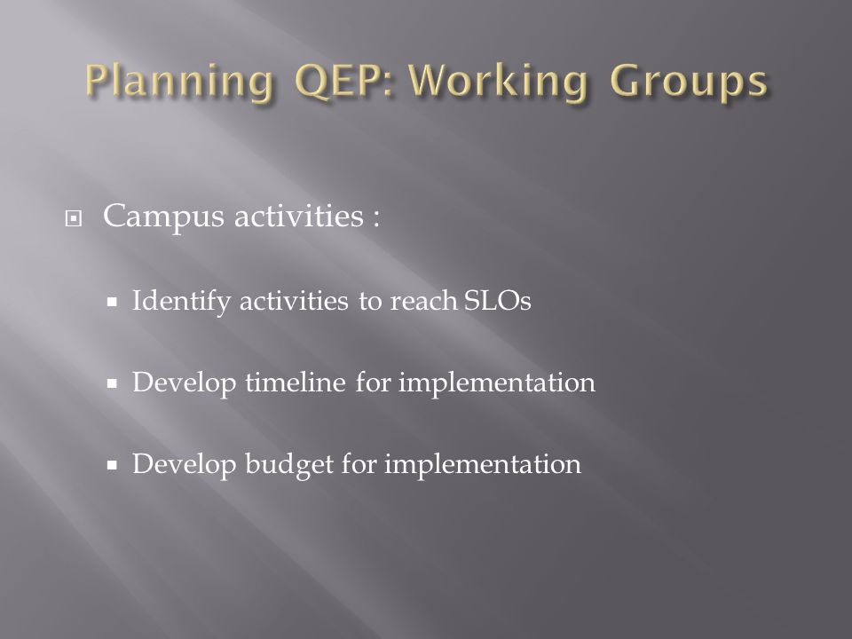  Campus activities :  Identify activities to reach SLOs  Develop timeline for implementation  Develop budget for implementation