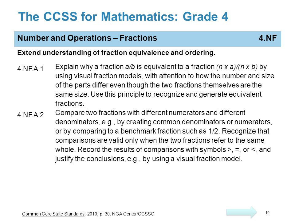The CCSS for Mathematics: Grade 4 Number and Operations – Fractions 4.NF Extend understanding of fraction equivalence and ordering. 4.NF.A.1 Explain w