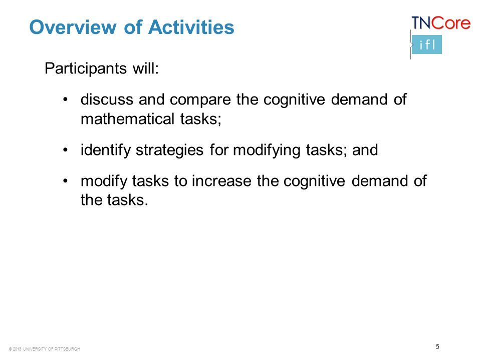 © 2013 UNIVERSITY OF PITTSBURGH Overview of Activities Participants will: discuss and compare the cognitive demand of mathematical tasks; identify str