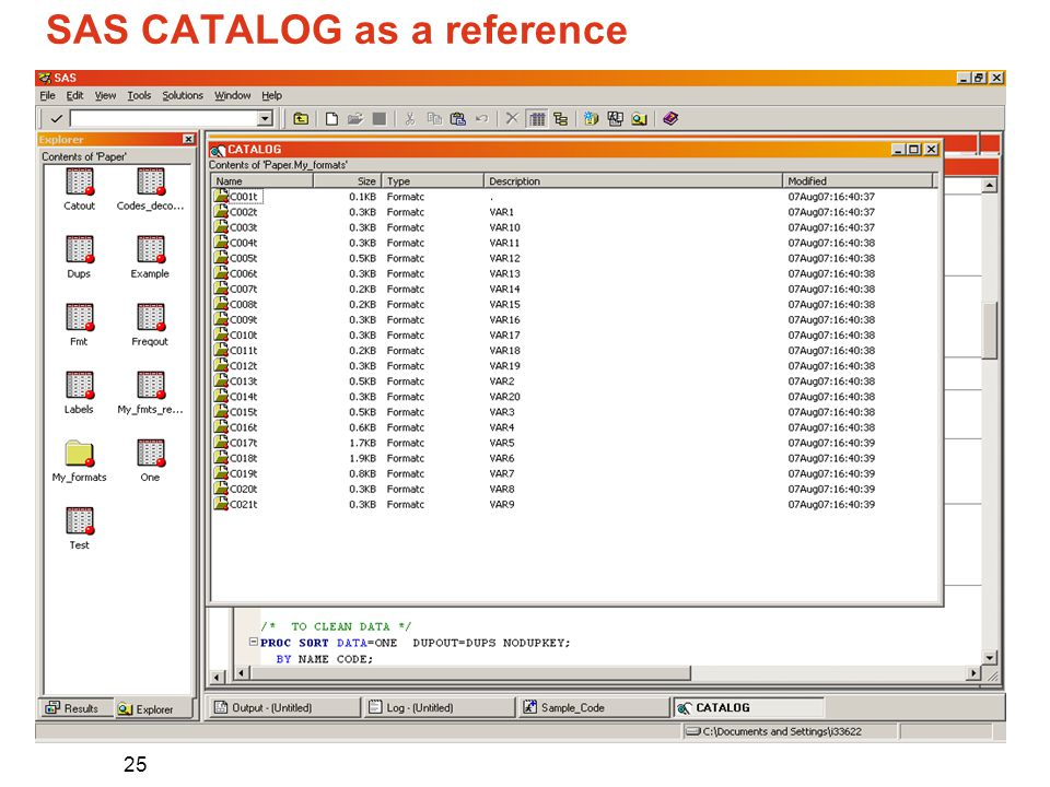 25 SAS CATALOG as a reference