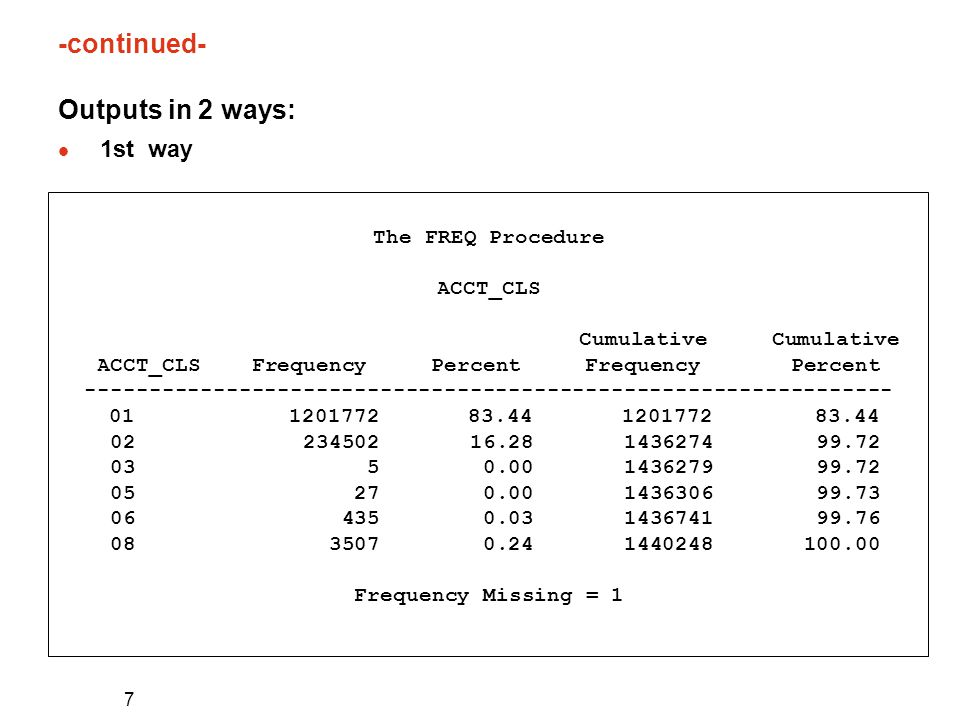 7 -continued- Outputs in 2 ways: l 1st way The FREQ Procedure ACCT_CLS Cumulative Cumulative ACCT_CLS Frequency Percent Frequency Percent --------------------------------------------------------------- 01 1201772 83.44 1201772 83.44 02 234502 16.28 1436274 99.72 03 5 0.00 1436279 99.72 05 27 0.00 1436306 99.73 06 435 0.03 1436741 99.76 08 3507 0.24 1440248 100.00 Frequency Missing = 1