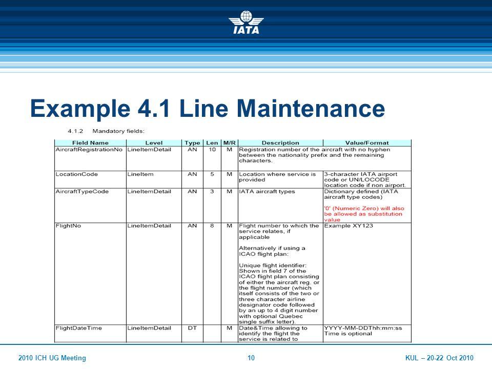 KUL – 20-22 Oct 20102010 ICH UG Meeting10 Example 4.1 Line Maintenance