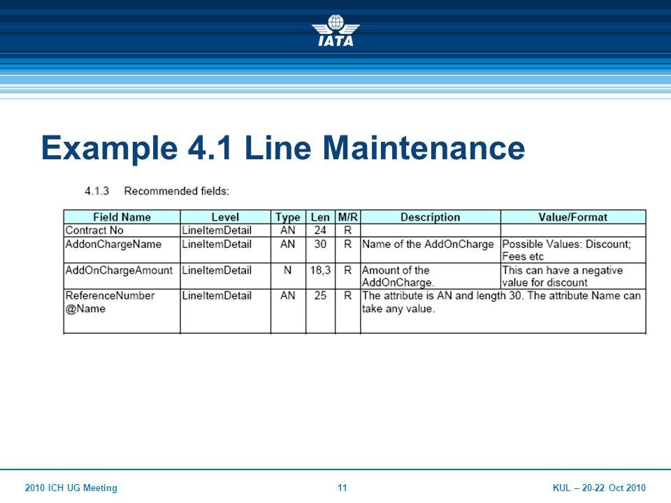 KUL – 20-22 Oct 20102010 ICH UG Meeting11 Example 4.1 Line Maintenance
