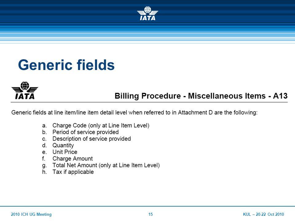 KUL – 20-22 Oct 20102010 ICH UG Meeting15 Generic fields