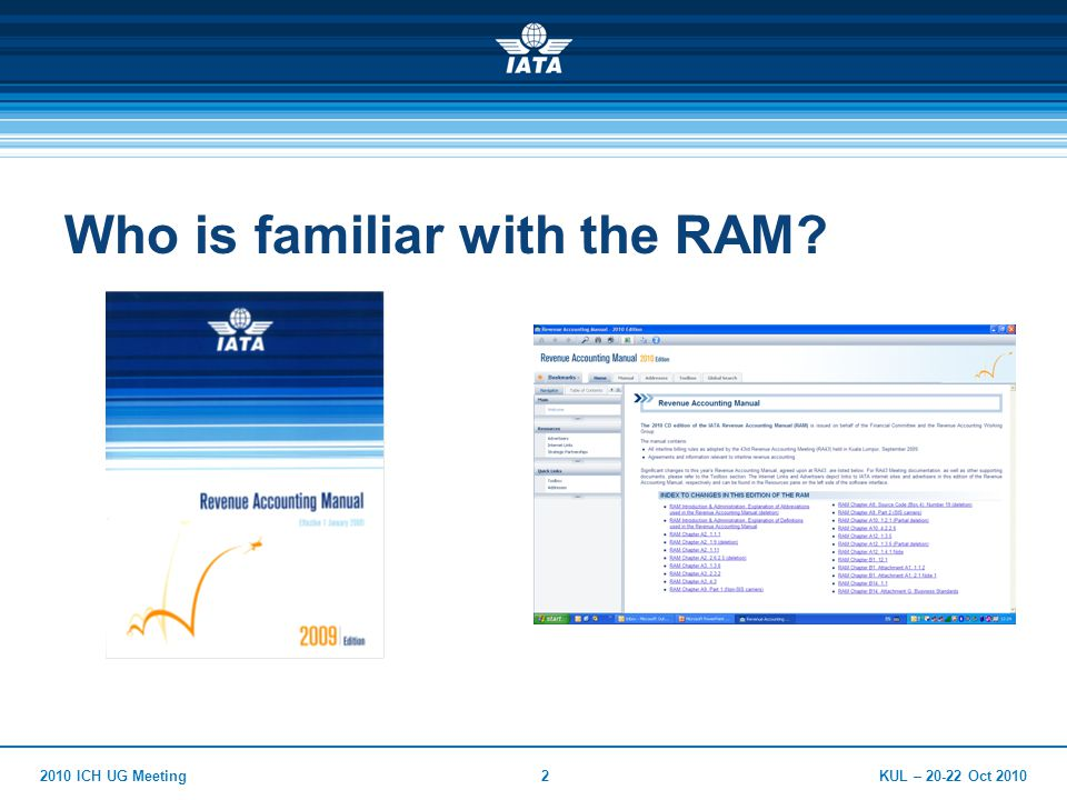 KUL – Oct ICH UG Meeting2 Who is familiar with the RAM