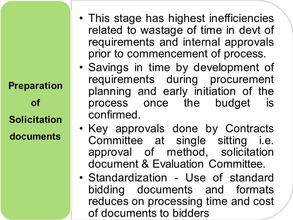 6 This stage has highest inefficiencies related to wastage of time in devt of requirements and internal approvals prior to commencement of process.