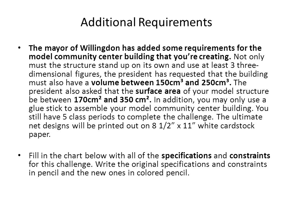 Additional Requirements The mayor of Willingdon has added some requirements for the model community center building that you're creating. Not only mus