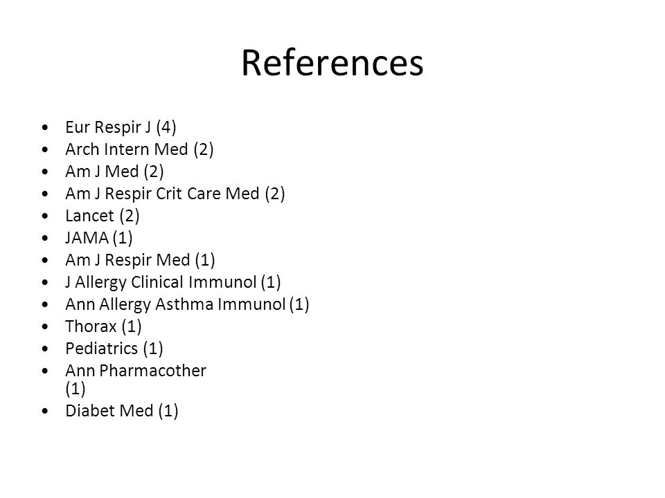 References Eur Respir J (4) Arch Intern Med (2) Am J Med (2) Am J Respir Crit Care Med (2) Lancet (2) JAMA (1) Am J Respir Med (1) J Allergy Clinical Immunol (1) Ann Allergy Asthma Immunol (1) Thorax (1) Pediatrics (1) Ann Pharmacother (1) Diabet Med (1)