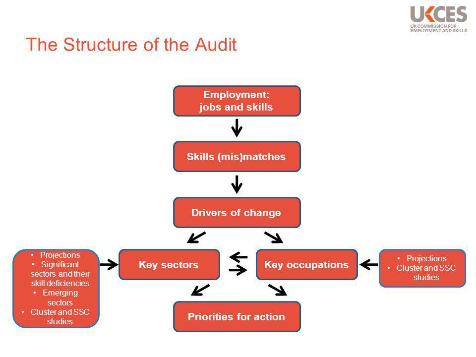 The Structure of the Audit Employment: jobs and skills Skills (mis)matches Drivers of change Key sectorsKey occupations Priorities for action Projections Significant sectors and their skill deficiencies Emerging sectors Cluster and SSC studies Projections Cluster and SSC studies