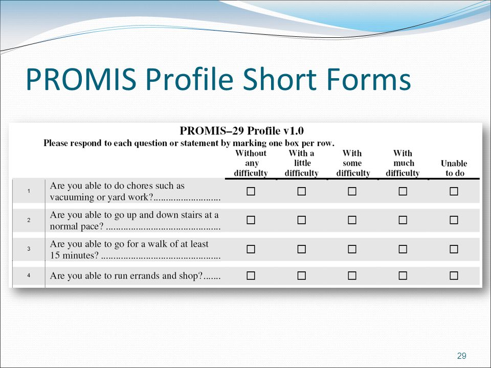PROMIS Profile Short Forms 29