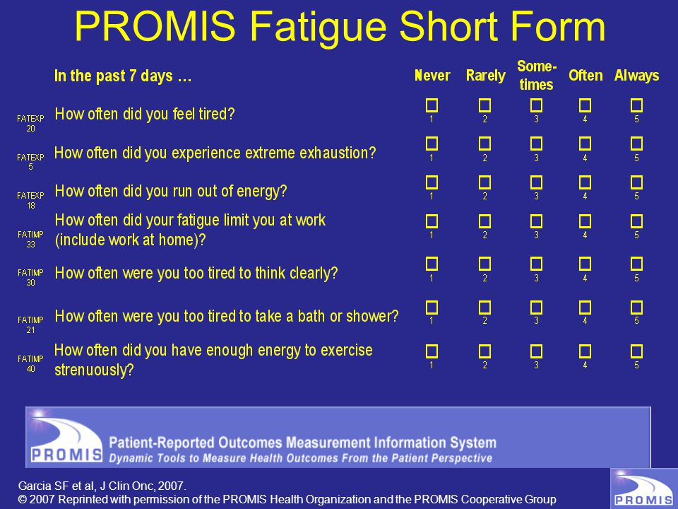 PROMIS Fatigue Short Form Garcia SF et al, J Clin Onc, 2007.