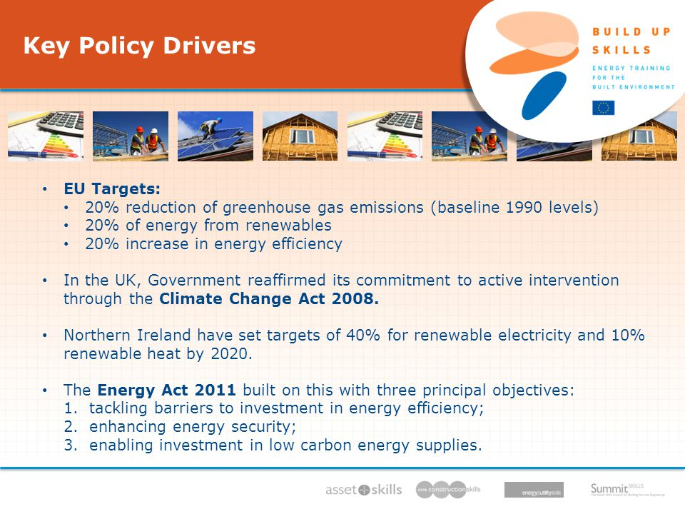 Key Policy Drivers IEE/11/BW1/479/S12.604616, 11/11 - 05/13, 06.12.11 EU Targets: 20% reduction of greenhouse gas emissions (baseline 1990 levels) 20% of energy from renewables 20% increase in energy efficiency In the UK, Government reaffirmed its commitment to active intervention through the Climate Change Act 2008.
