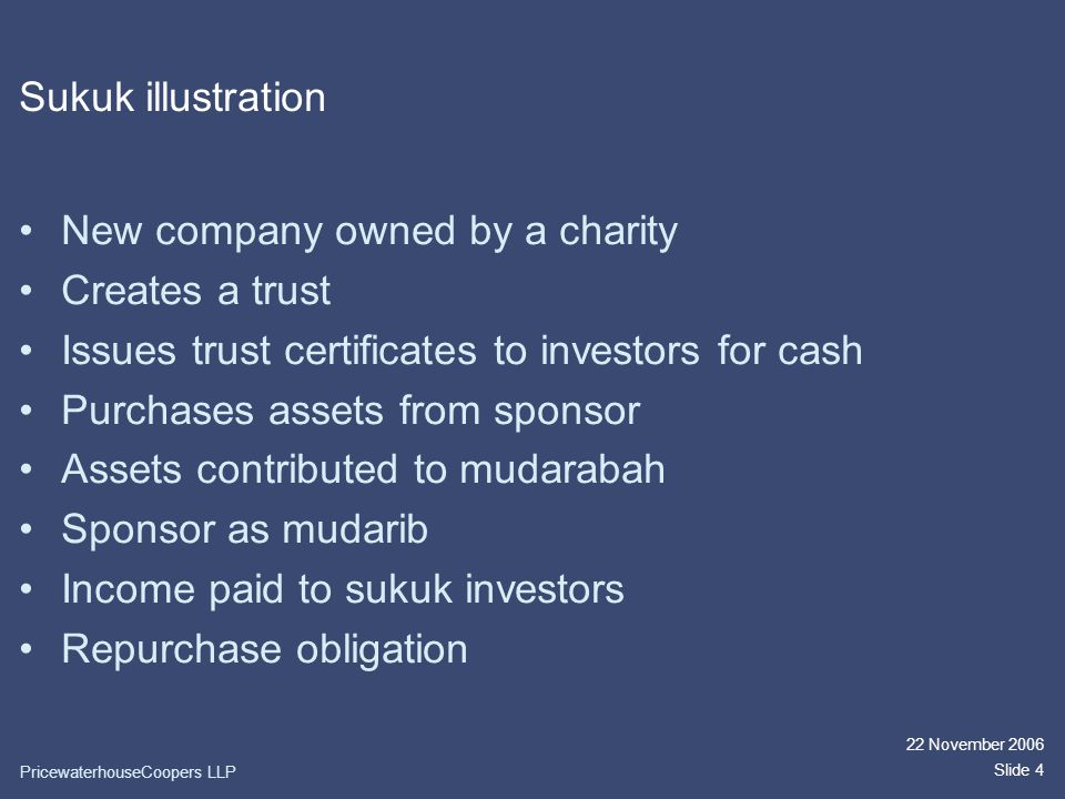 22 November 2006 Slide 4 Sukuk illustration New company owned by a charity Creates a trust Issues trust certificates to investors for cash Purchases assets from sponsor Assets contributed to mudarabah Sponsor as mudarib Income paid to sukuk investors Repurchase obligation