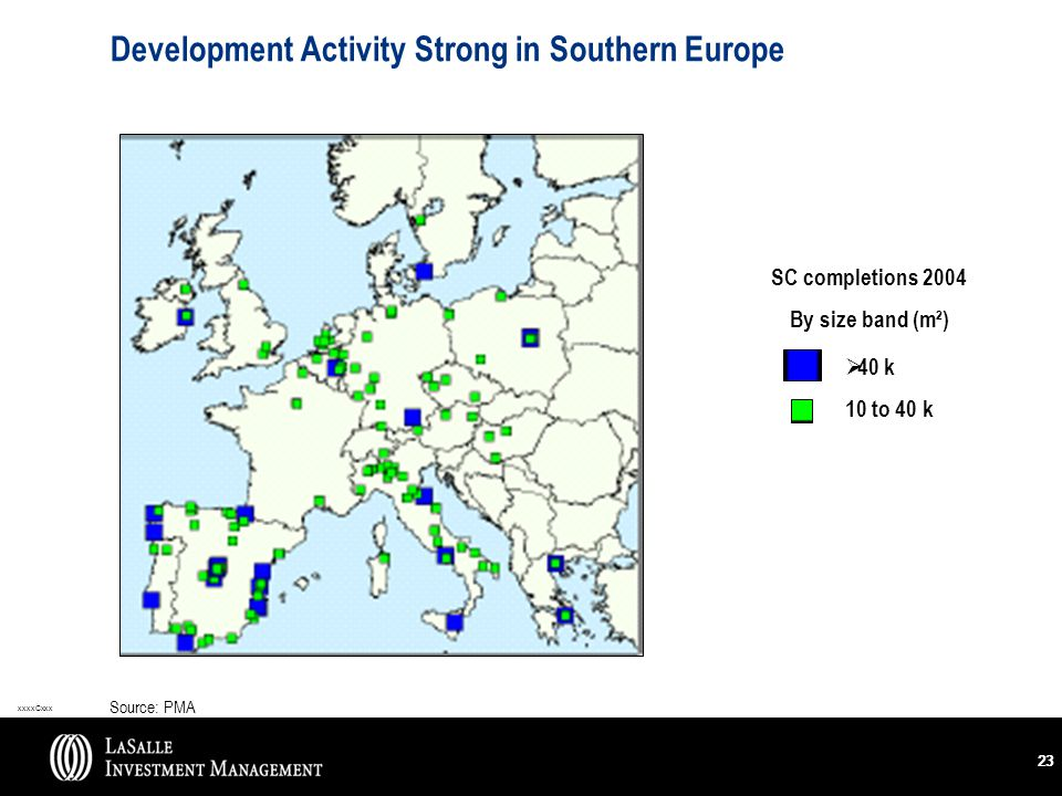 xxxxCxxx 23 Development Activity Strong in Southern Europe Source: PMA SC completions 2004 By size band (m²)  40 k 10 to 40 k
