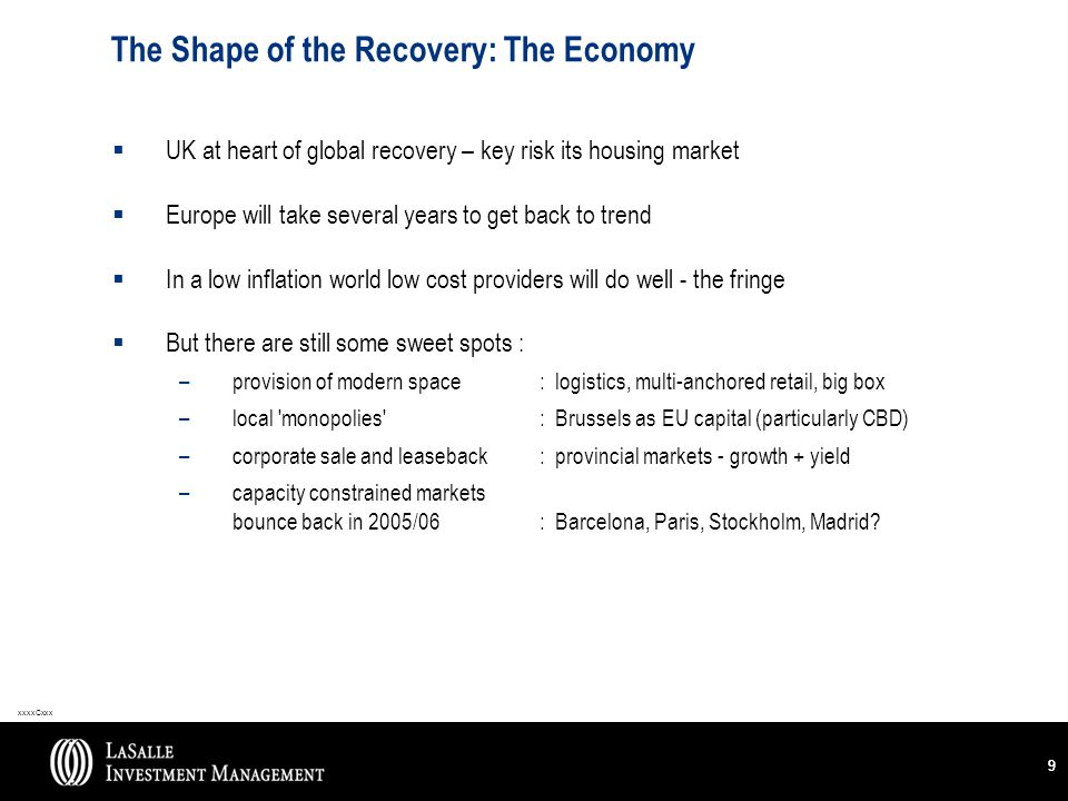 xxxxCxxx 99 The Shape of the Recovery: The Economy  UK at heart of global recovery – key risk its housing market  Europe will take several years to get back to trend  In a low inflation world low cost providers will do well - the fringe  But there are still some sweet spots : –provision of modern space : logistics, multi-anchored retail, big box –local monopolies : Brussels as EU capital (particularly CBD) –corporate sale and leaseback: provincial markets - growth + yield –capacity constrained markets bounce back in 2005/06: Barcelona, Paris, Stockholm, Madrid