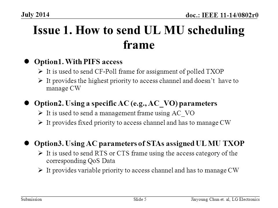 Submission doc.: IEEE 11-14/0802r0 Issue 1. How to send UL MU scheduling frame Option1.
