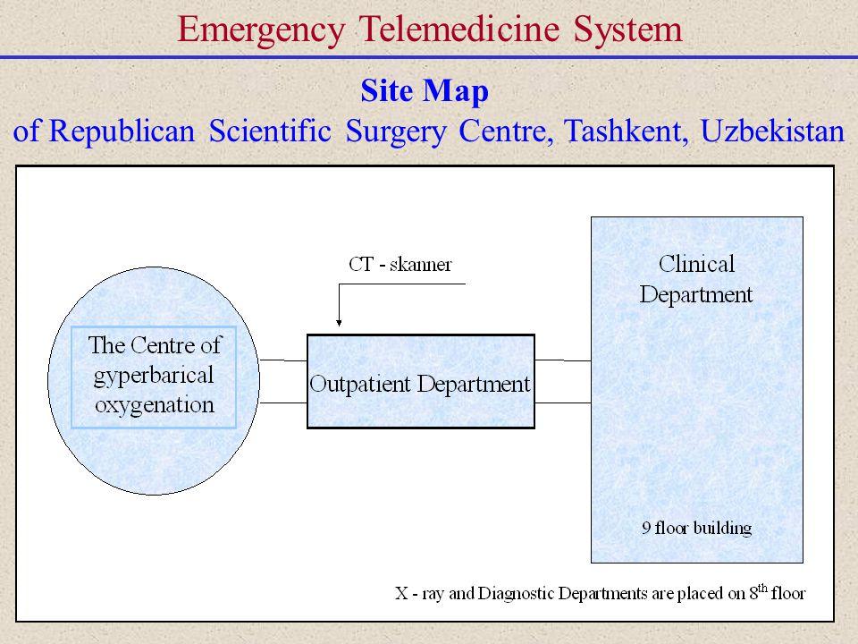 Emergency Telemedicine System Site Map of Republican Scientific Surgery Centre, Tashkent, Uzbekistan