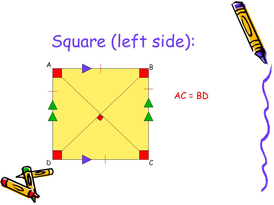 Square (left side): A B DC AC = BD