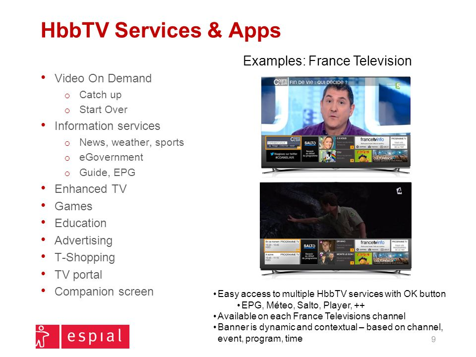 HbbTV Services & Apps Video On Demand o Catch up o Start Over Information services o News, weather, sports o eGovernment o Guide, EPG Enhanced TV Game