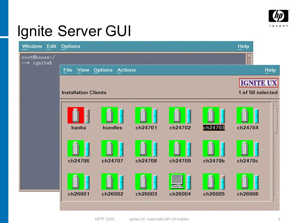 HPTF 2005 Ignite-UX: Automatic HP-UX Installs15 Cold Install Run bootsys –a –f –i HP-UX B.11.11 Default mytarget