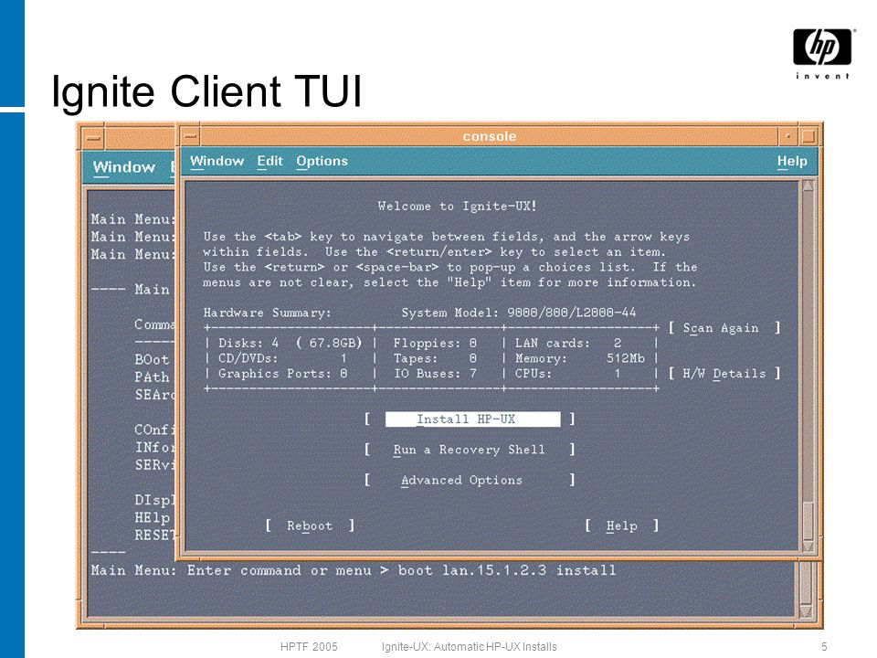 HPTF 2005 Ignite-UX: Automatic HP-UX Installs16 Golden Image Setup Steps 1.
