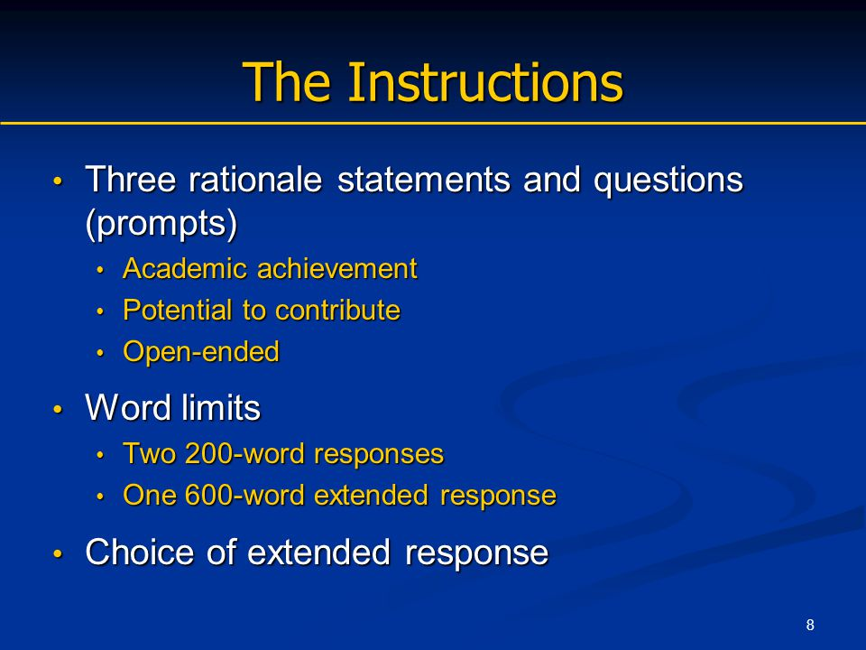 9 The Prompts Rationale statement: provides context for the response Rationale statement: provides context for the response Question: provides direction of the response Question: provides direction of the response