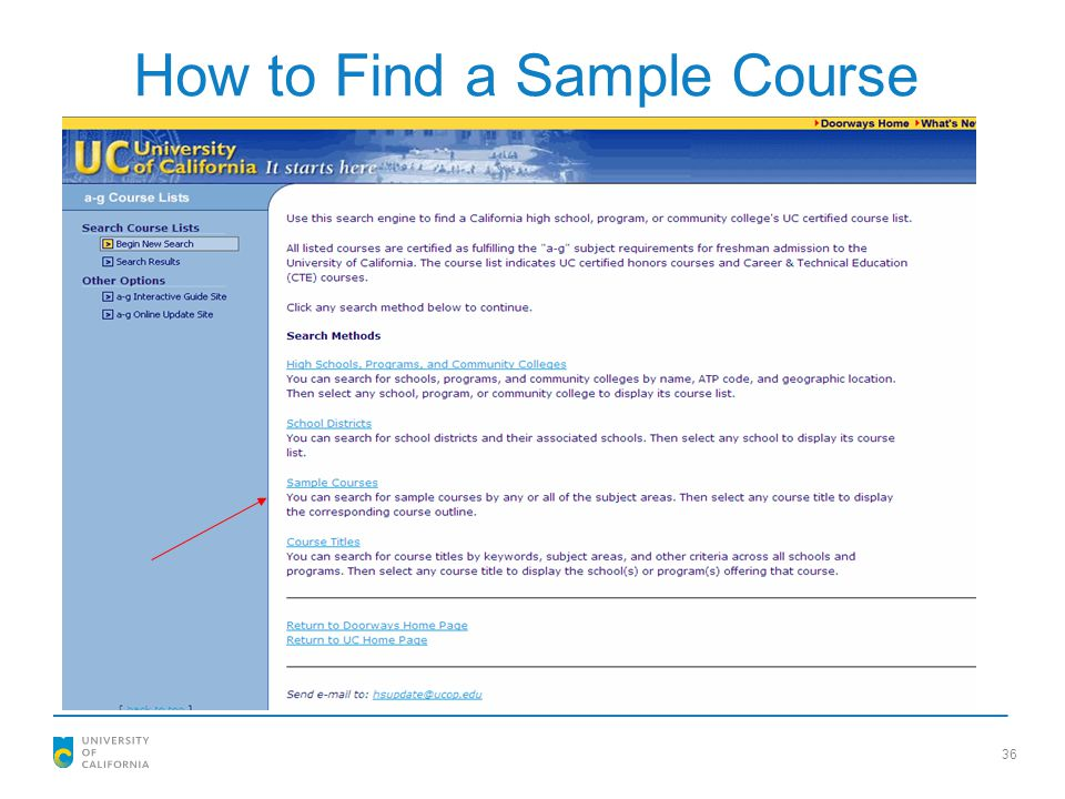 36 How to Find a Sample Course