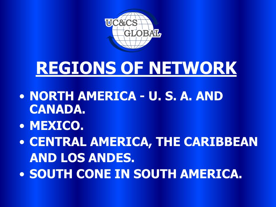 REGIONS OF NETWORK NORTH AMERICA - U. S. A. AND CANADA.