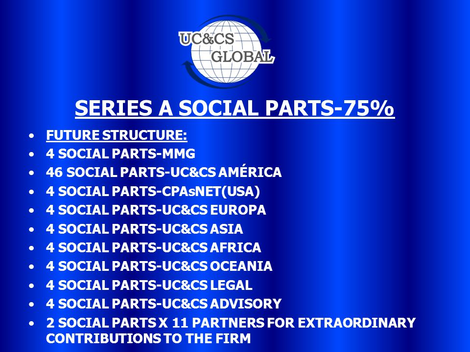 SERIES A SOCIAL PARTS-75% FUTURE STRUCTURE: 4 SOCIAL PARTS-MMG 46 SOCIAL PARTS-UC&CS AMÉRICA 4 SOCIAL PARTS-CPAsNET(USA) 4 SOCIAL PARTS-UC&CS EUROPA 4 SOCIAL PARTS-UC&CS ASIA 4 SOCIAL PARTS-UC&CS AFRICA 4 SOCIAL PARTS-UC&CS OCEANIA 4 SOCIAL PARTS-UC&CS LEGAL 4 SOCIAL PARTS-UC&CS ADVISORY 2 SOCIAL PARTS X 11 PARTNERS FOR EXTRAORDINARY CONTRIBUTIONS TO THE FIRM