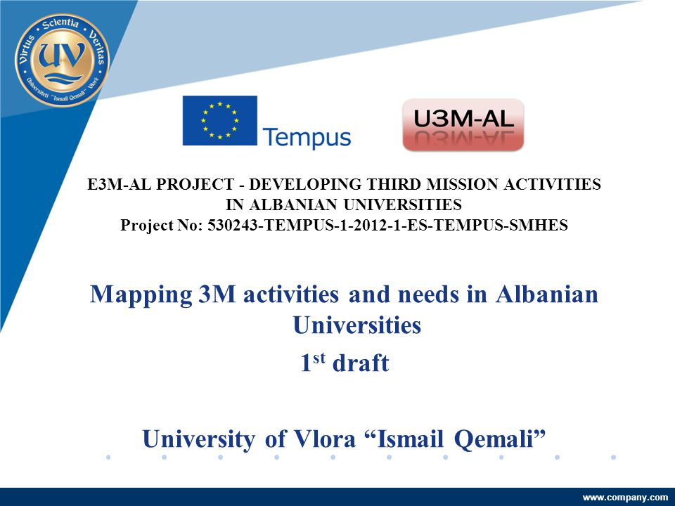 Company LOGO www.company.com E3M-AL PROJECT - DEVELOPING THIRD MISSION ACTIVITIES IN ALBANIAN UNIVERSITIES Project No: 530243-TEMPUS-1-2012-1-ES-TEMPUS-SMHES Mapping 3M activities and needs in Albanian Universities 1 st draft University of Vlora Ismail Qemali