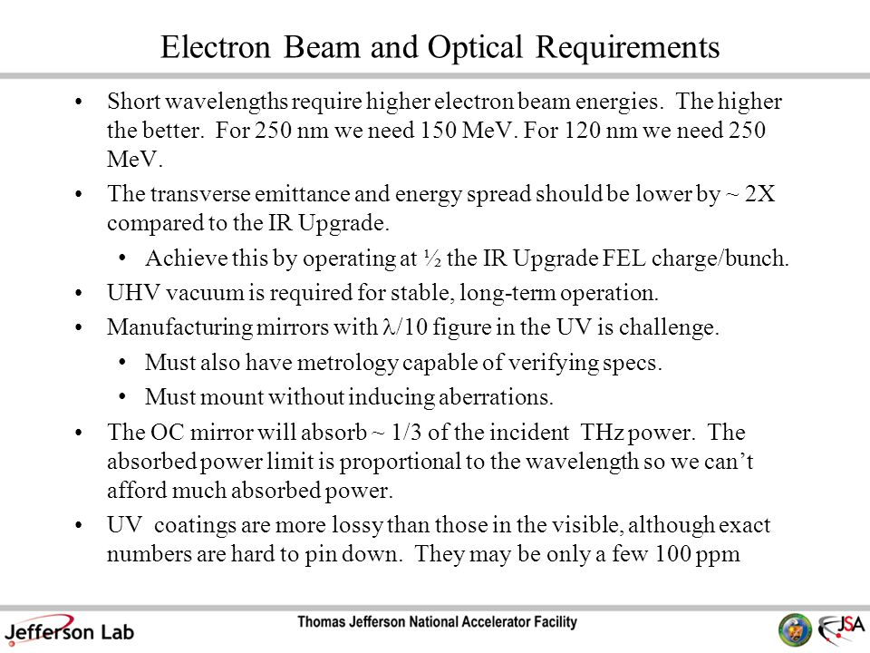 Electron Beam and Optical Requirements Short wavelengths require higher electron beam energies.