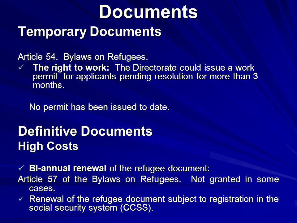 Documents Temporary Documents Article 54. Bylaws on Refugees.