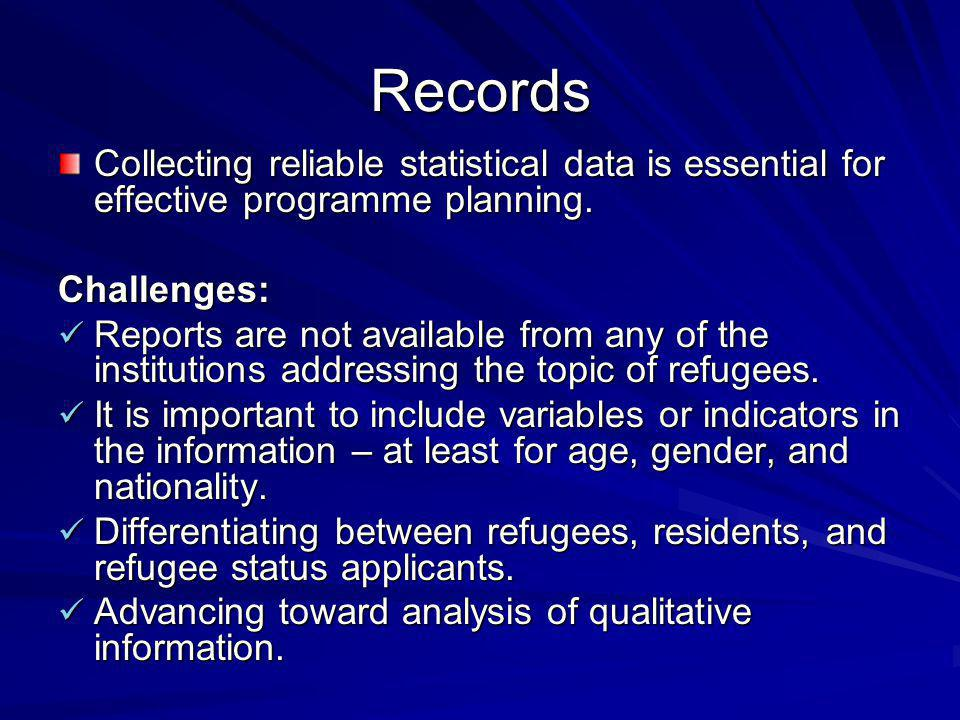 Records Collecting reliable statistical data is essential for effective programme planning.
