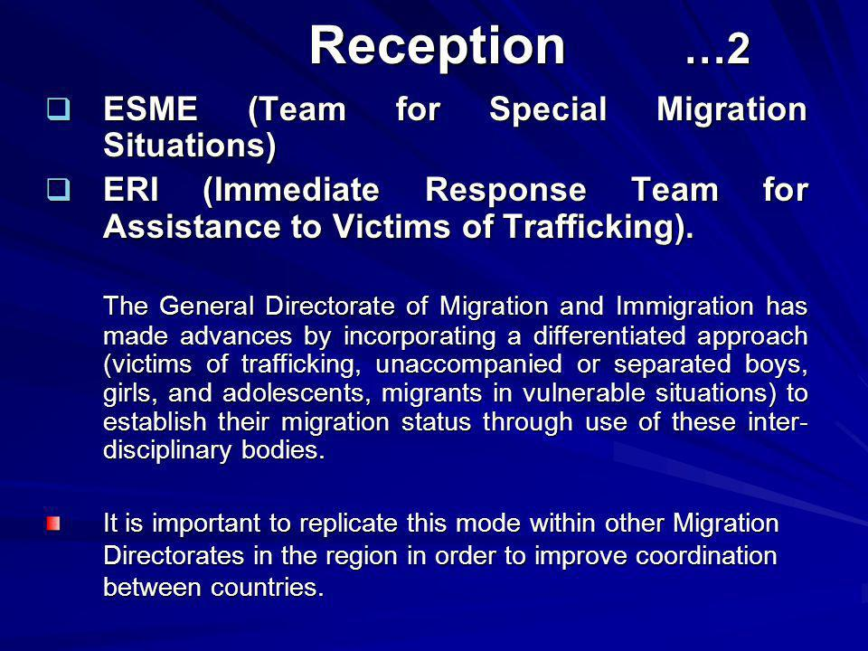 Reception …2 Reception …2  ESME (Team for Special Migration Situations)  ERI (Immediate Response Team for Assistance to Victims of Trafficking). The