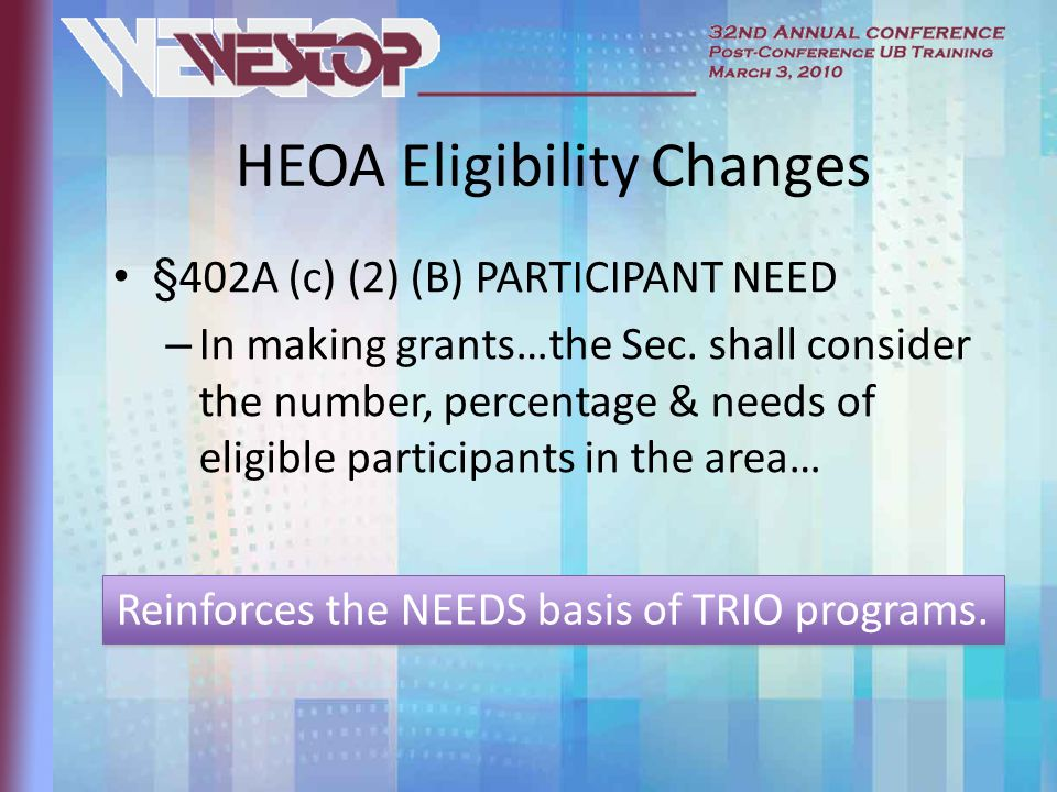 HEOA Eligibility Changes §402A (c) (2) (B) PARTICIPANT NEED – In making grants…the Sec.