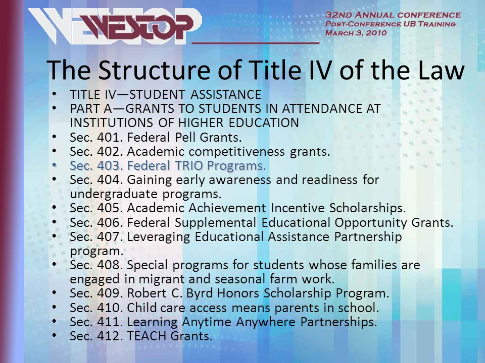 The Structure of Title IV of the Law TITLE IV—STUDENT ASSISTANCE PART A—GRANTS TO STUDENTS IN ATTENDANCE AT INSTITUTIONS OF HIGHER EDUCATION Sec.
