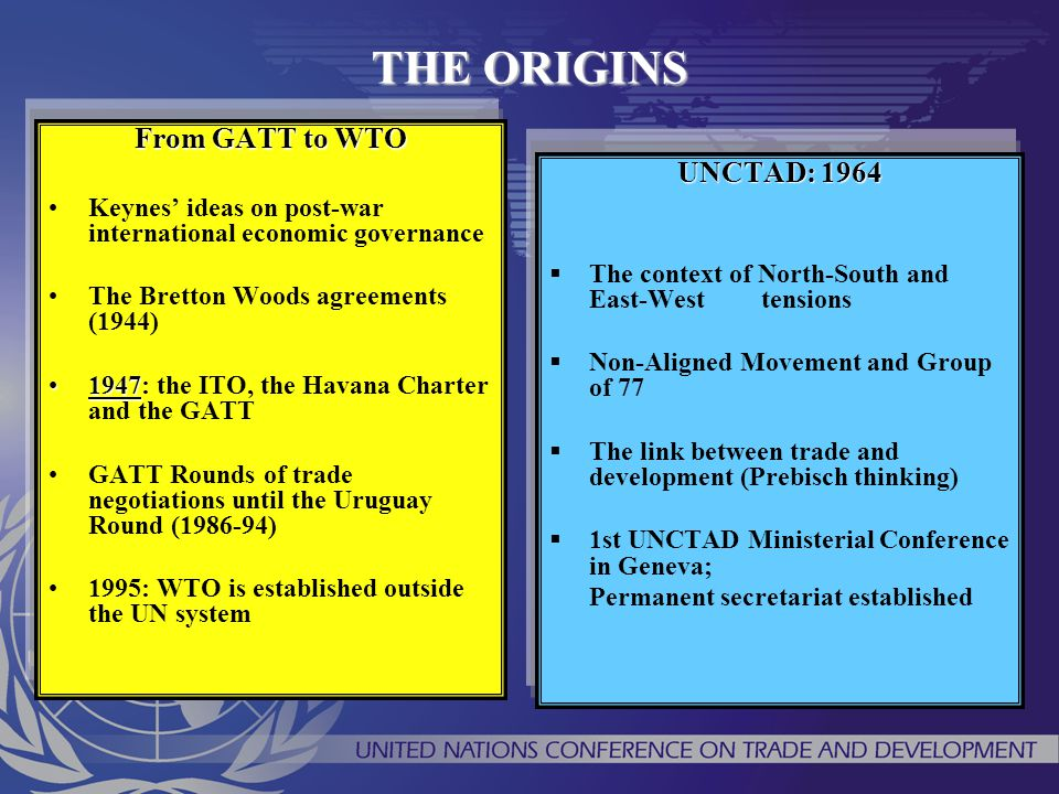 THE ORIGINS From GATT to WTO Keynes' ideas on post-war international economic governance The Bretton Woods agreements (1944) 19471947: the ITO, the Ha