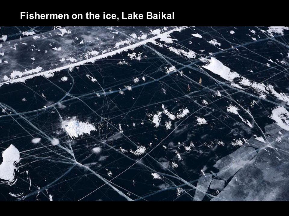 Fishermen on the ice, Lake Baikal